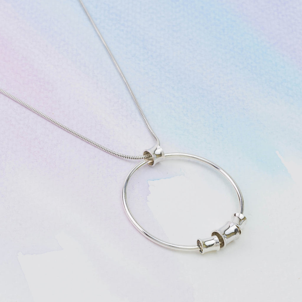 Silver Bamboo Circle Necklace