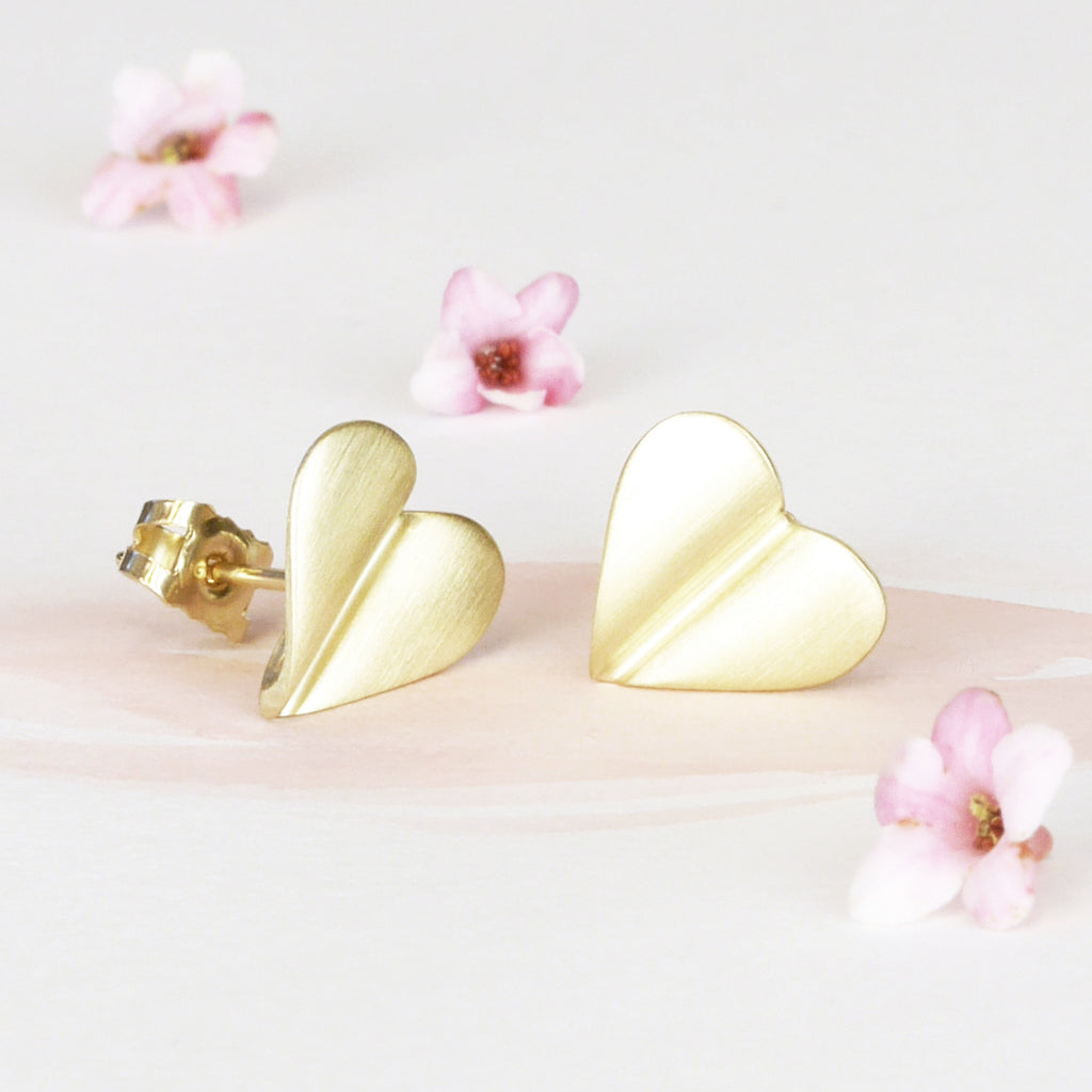 Brushed 9ct Gold Heart Stud Earrings