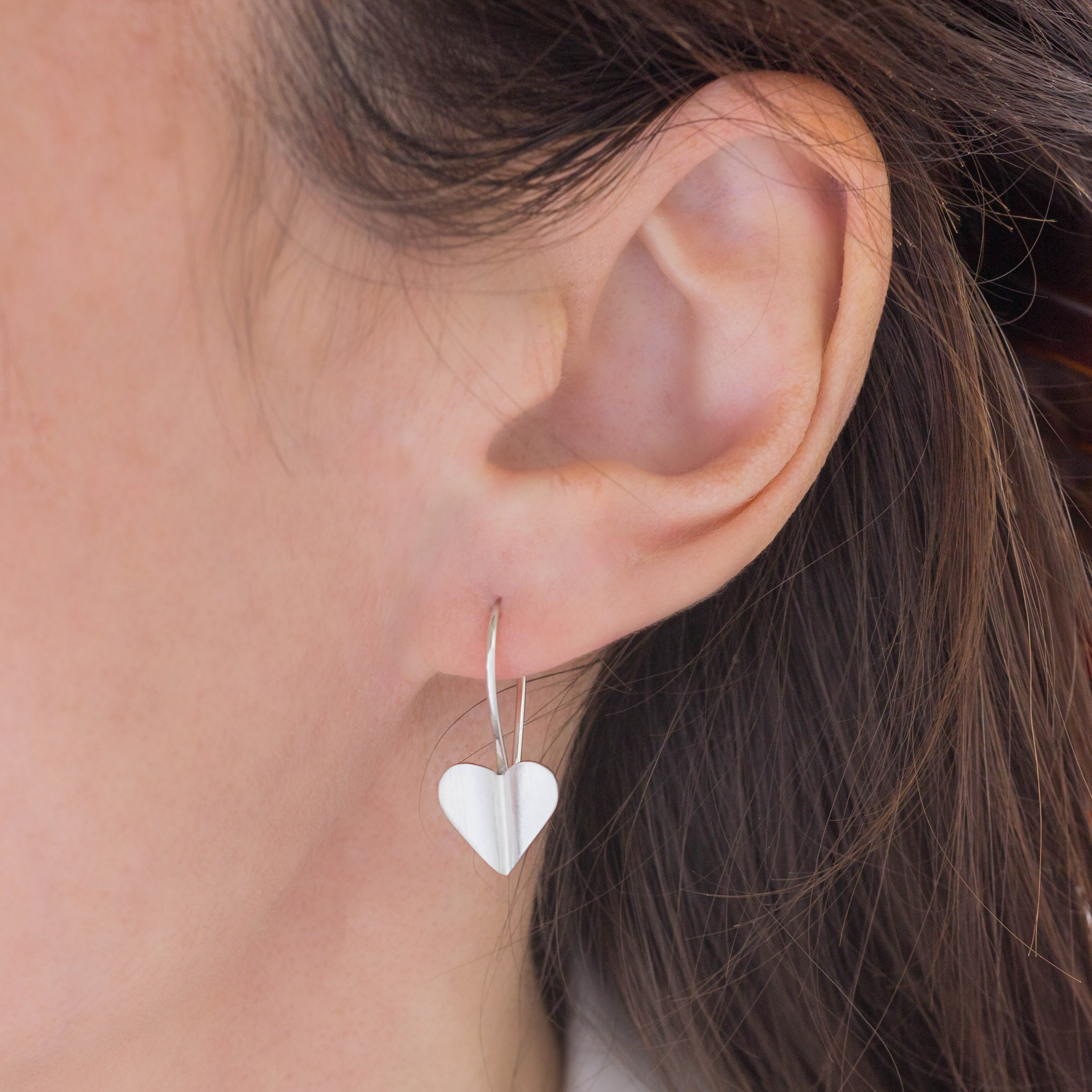 Brushed Silver Heart Drop Earrings