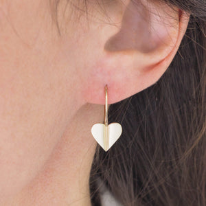 Brushed 9ct Gold Heart Drop Earrings
