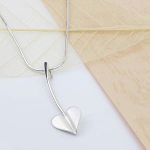 'Love Grows' Brushed Silver Heart Necklace