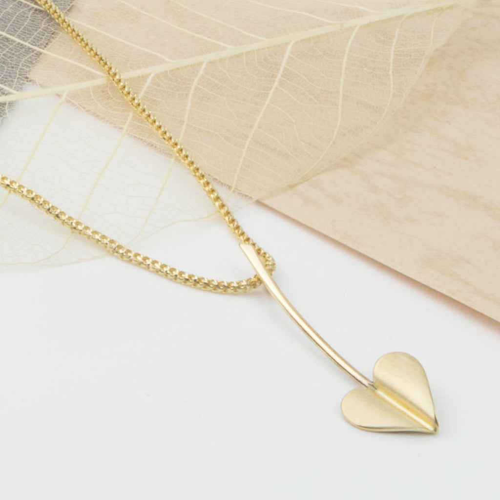 'Love Grows' Brushed 9ct Gold Heart Necklace