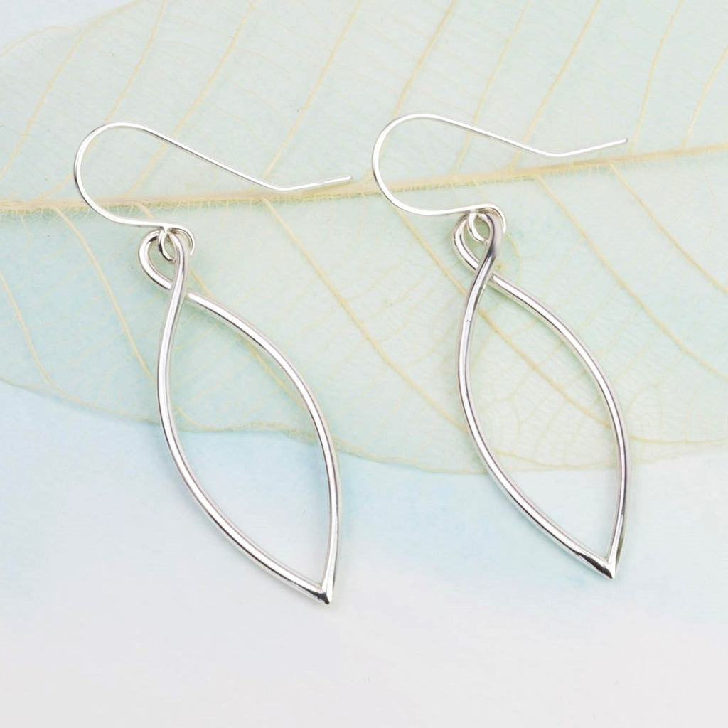Silver Leaf Outline Drop Earrings, Large
