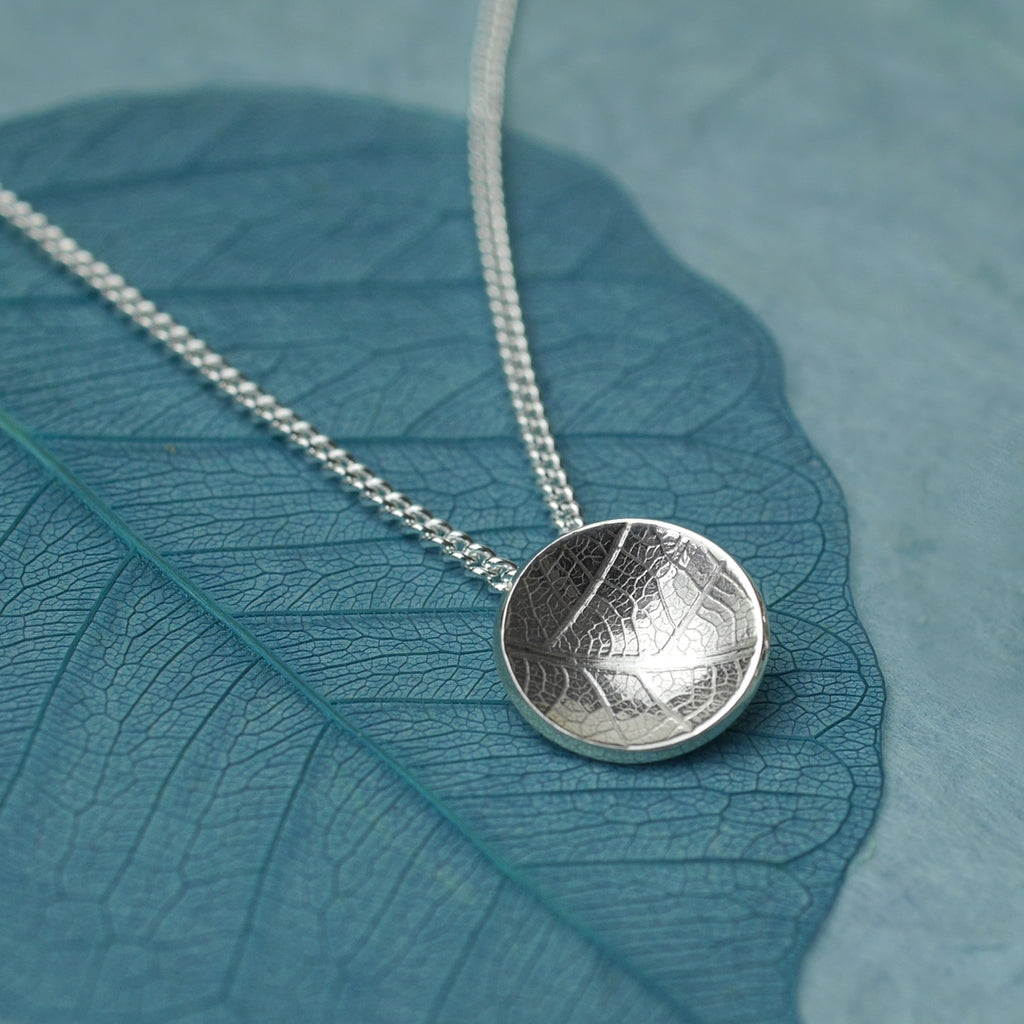Leaf Texture Silver Dome Pendant, Small