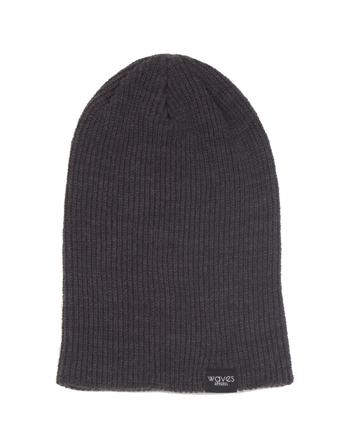 Waves Apparel Ribbed Knit Beanie - Dark Grey