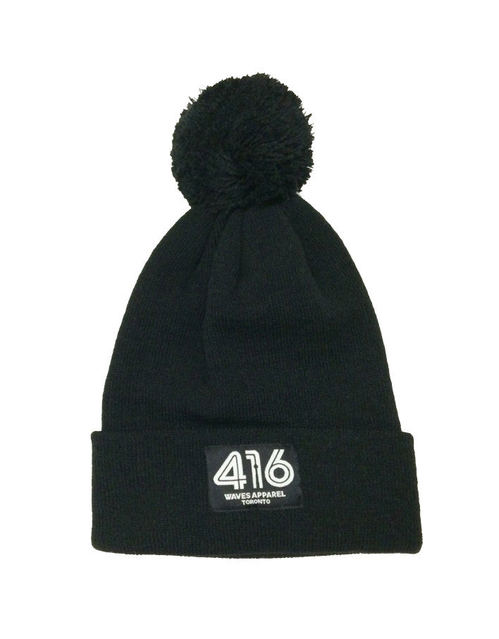416 Cuffed Knit Toque with Pom Pom - Black