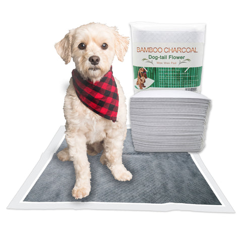 "Dog Pads Puppy Pads for Dog Training Pads, Disposable, Bamboo Charcoal, Odor Remove, Thicker Pads, Supper Absorbent 23.5"" x 23.5"" 50 counts"