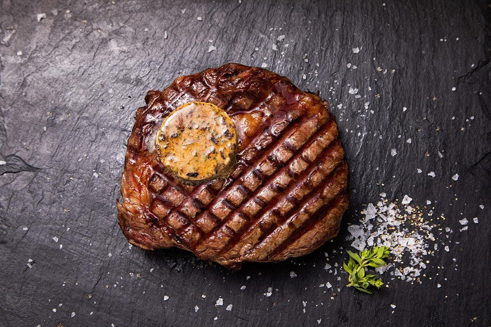 ribeye with peppercorn butter
