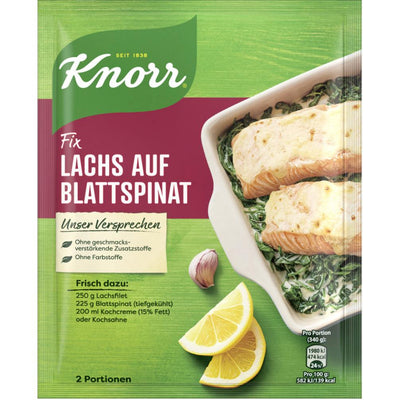 Knorr Fix for Salmon on Spinach Leaves