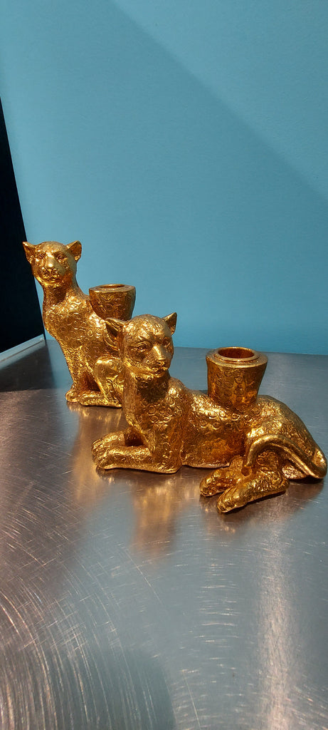 Enzo De Gasperi, set of 2 panther seated candle holders, gold resin, h15x10cm