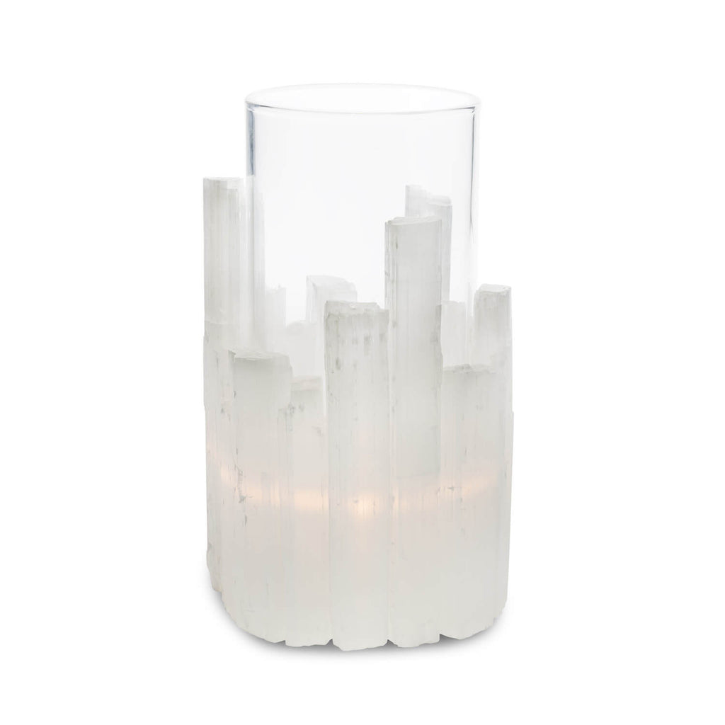 Abhika, Lixus L candle holder, glass and selenite, h24xd17 cm