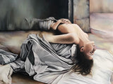 "Dorta Raffaella, painting ""Woman with Sheets"", oil on canvas, 100x70"