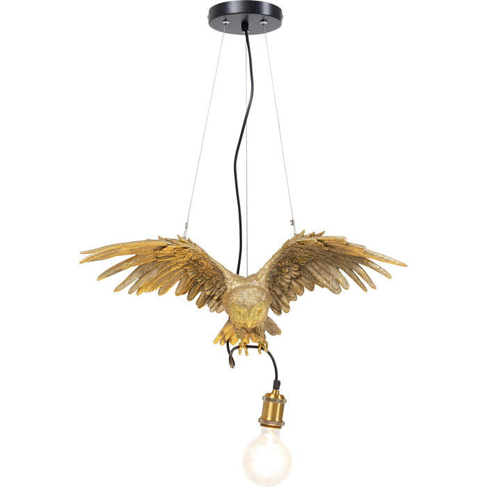 "Kare, ""Owl"" suspension lamp, polyresin and lacquered steel, 28x57x14"