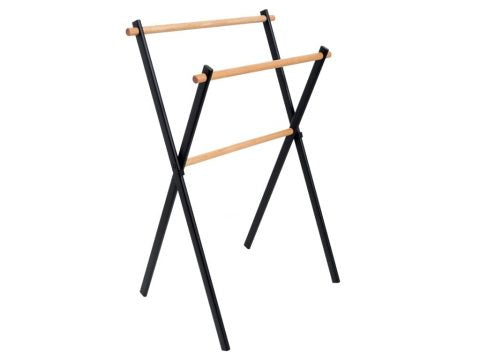 Cipì, free standing towel holder Mit Compasso in black satin metal and wood, 59 x 43 x h 86 cm, CP914 MIT ON - BLACK