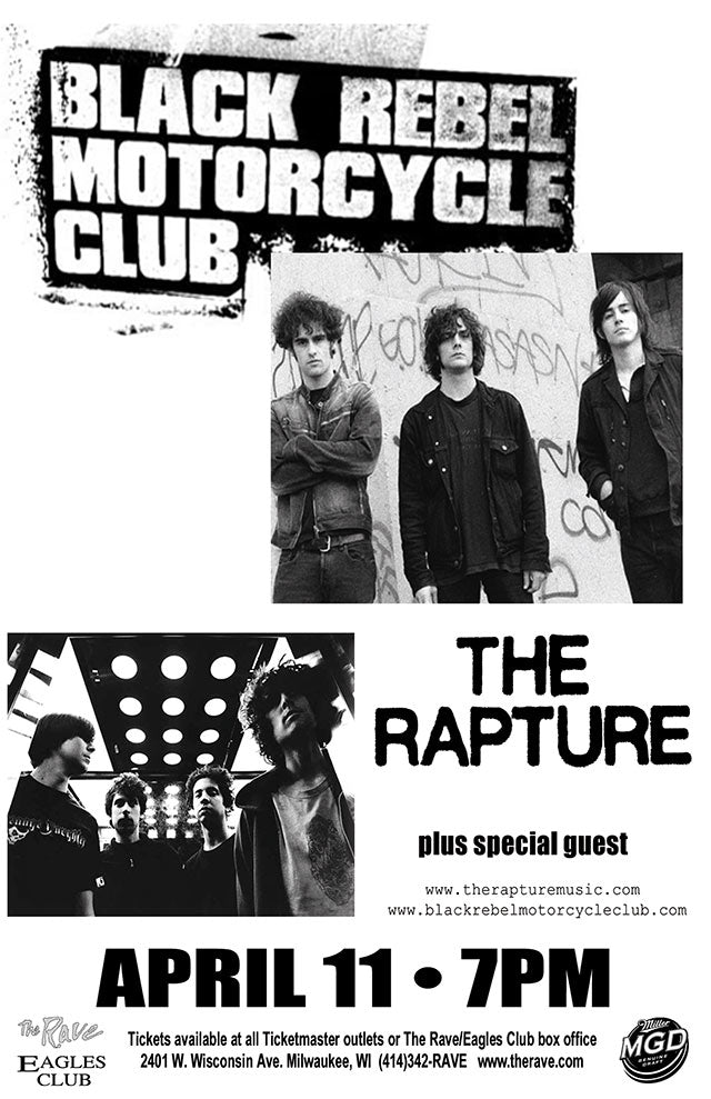 BLACK REBEL MOTORCYCLE CLUB / THE RAPTURE 4/11/2004 Concert Poster