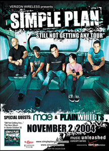 SIMPLE PLAN 11/2/2004 Concert Poster