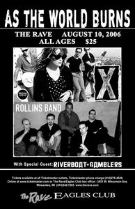 X / ROLLINS BAND 8/10/2006 Concert Poster