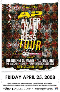 THE AP TOUR: THE ROCKET SUMMER / ALL TIME LOW 4/25/2008 Concert Poster