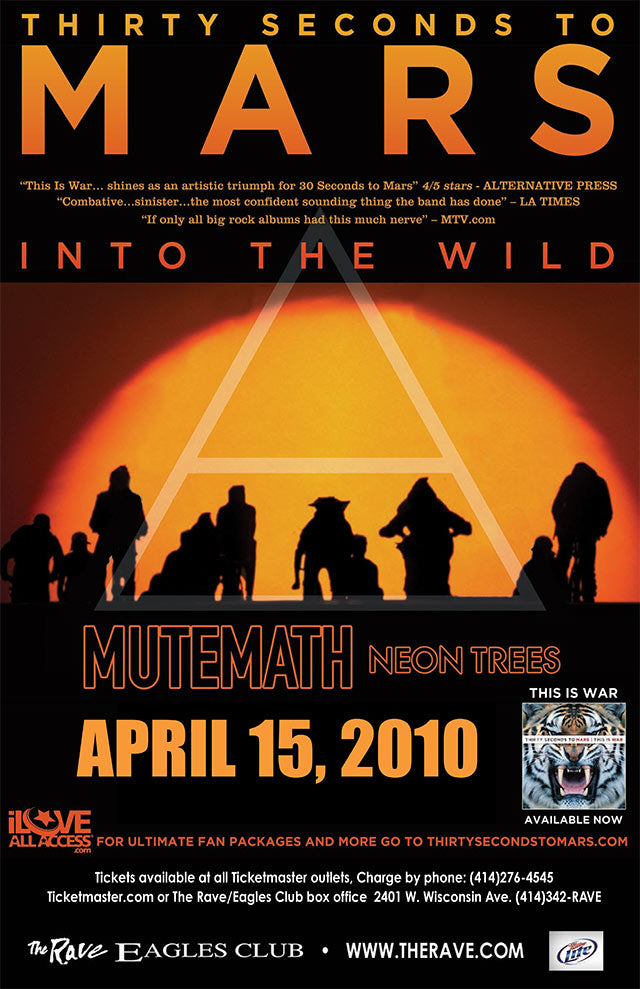 THIRTY SECONDS TO MARS 4/15/2010 Concert Poster