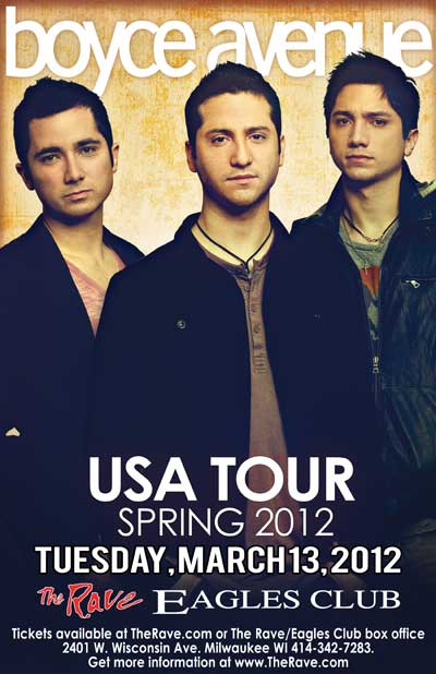 BOYCE AVENUE WITH SECONDHAND SERENADE 3/13/2012 Concert Poster