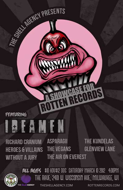 ROTTEN RECORDS SHOWCASE FEATURING IDEAMEN 3/10/2012 Concert Poster