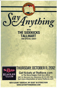 SAY ANYTHING 10/11/2012 Concert Poster