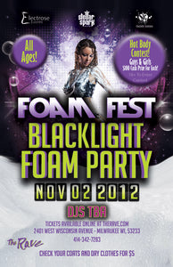 FOAM FEST 3: BLACK LIGHT FOAM PARTY 11/2/2012 Concert Poster