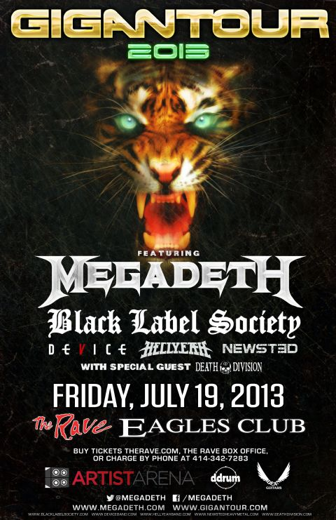 MEGADETH AND BLACK LABEL SOCIETY 7/19/2013 Concert Poster