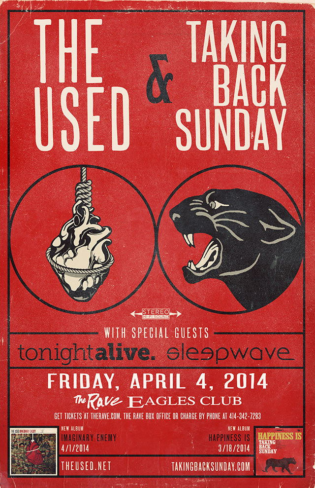 THE USED / TAKING BACK SUNDAY 4/4/2014 Concert Poster