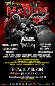ASKING ALEXANDRIA / TRIVIUM + MANY MORE! 7/18/2014 Concert Poster