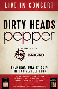 DIRTY HEADS / PEPPER 7/17/2014 Concert Poster