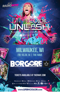 LIFE IN COLOR PAINT PARTY WITH BORGORE 10/24/2014 Concert Poster