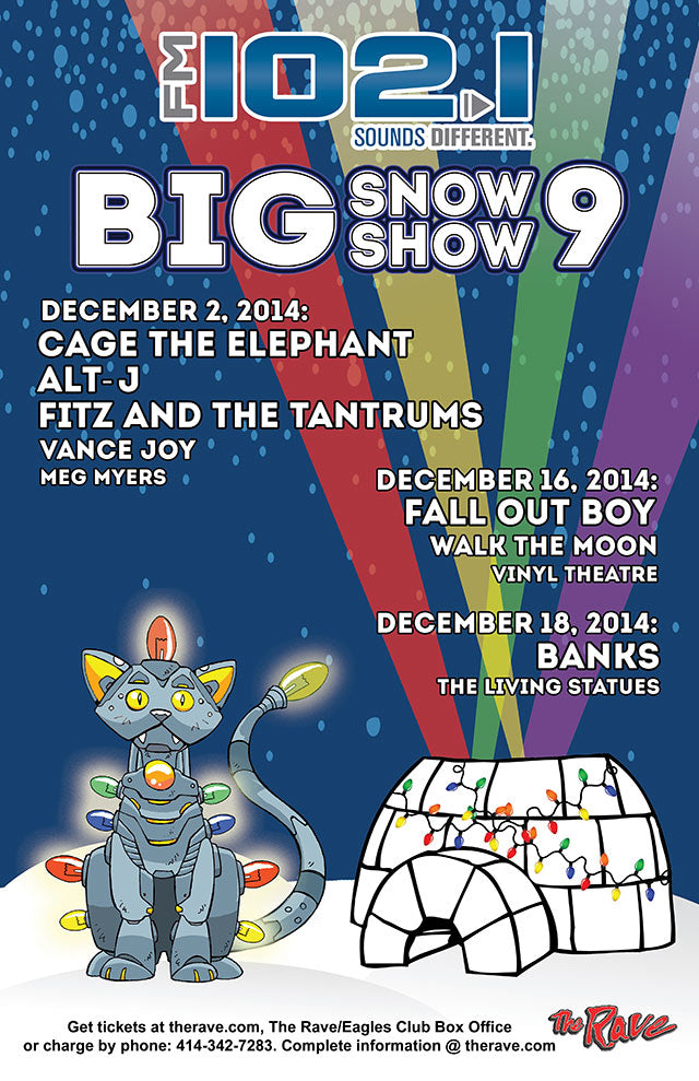 CAGE THE ELEPHANT / ALT-J / FITZ AND THE TANTRUMS 12/2/2014 Concert Poster