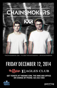 THE CHAINSMOKERS 12/12/2014 Concert Poster