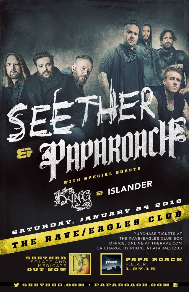 SEETHER AND PAPA ROACH 1/24/2015 Concert Poster