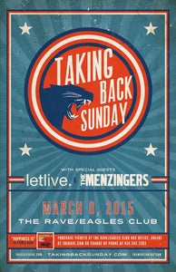 TAKING BACK SUNDAY 3/8/2015 Concert Poster