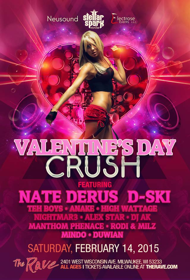 VALENTINE'S DAY CRUSH 2/14/2015 Concert Poster