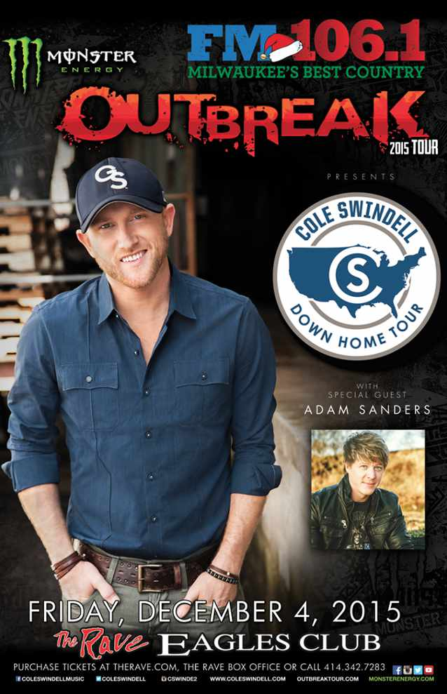 COLE SWINDELL 12/4/2015 Concert Poster