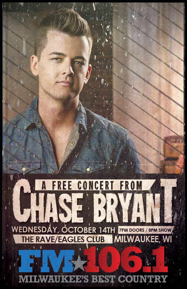 CHASE BRYANT 10/14/2015 Concert Poster