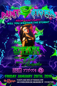 PAINT STORM: NEON PAINT PARTY FEATURING TERRAVITA 1/29/2016 Concert Poster