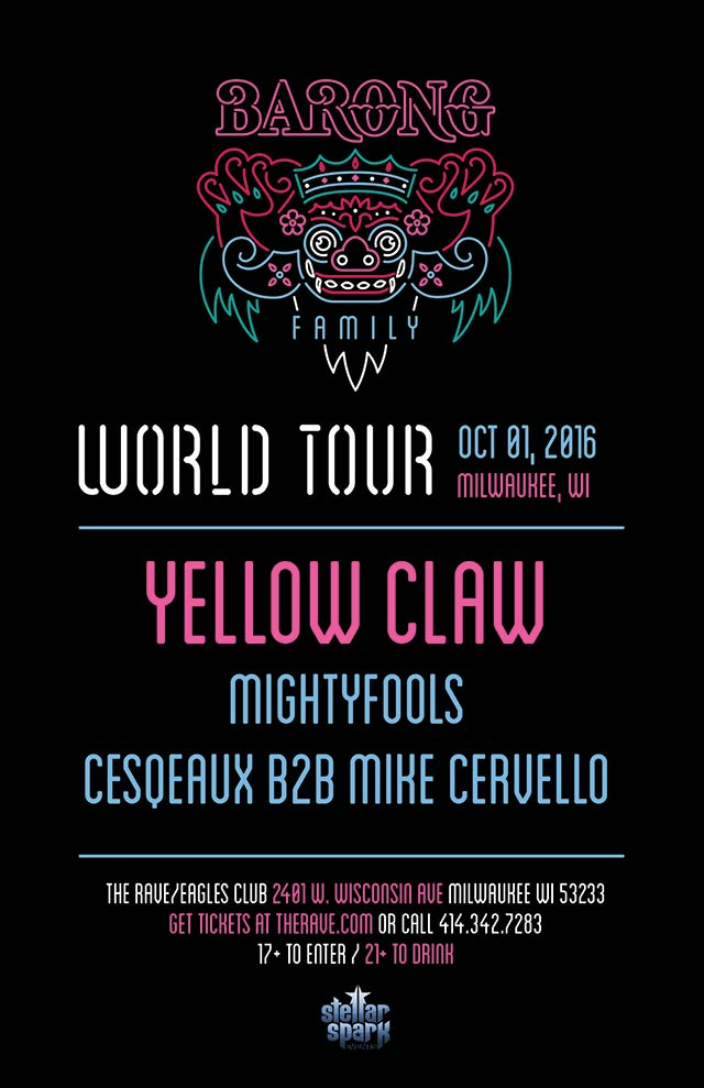 YELLOW CLAW 10/1/2016 Concert Poster