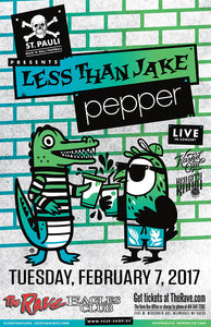 LESS THAN JAKE / PEPPER 2/7/2017 Concert Poster