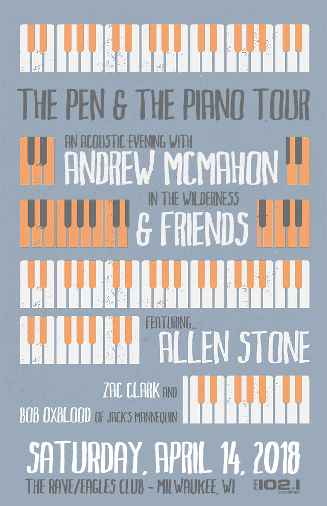 ANDREW MCMAHON IN THE WILDERNESS & FRIENDS 4/14/2018 Concert Poster