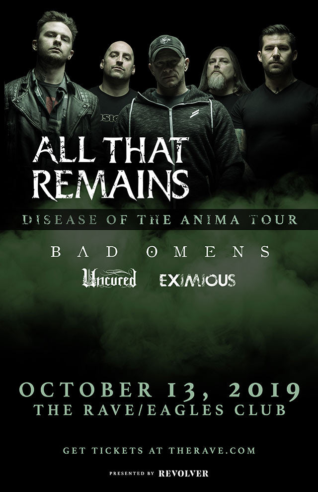 ALL THAT REMAINS 10/13/2019 Concert Poster