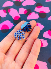 Load image into Gallery viewer, Blue and Silver Glitter Stripe Mismatch Polka Dot Monstera Leaf Earrings
