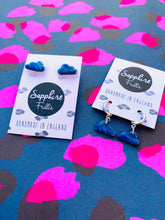 Load image into Gallery viewer, Small Blue and White Glitter Marble Cloud Stud Earrings
