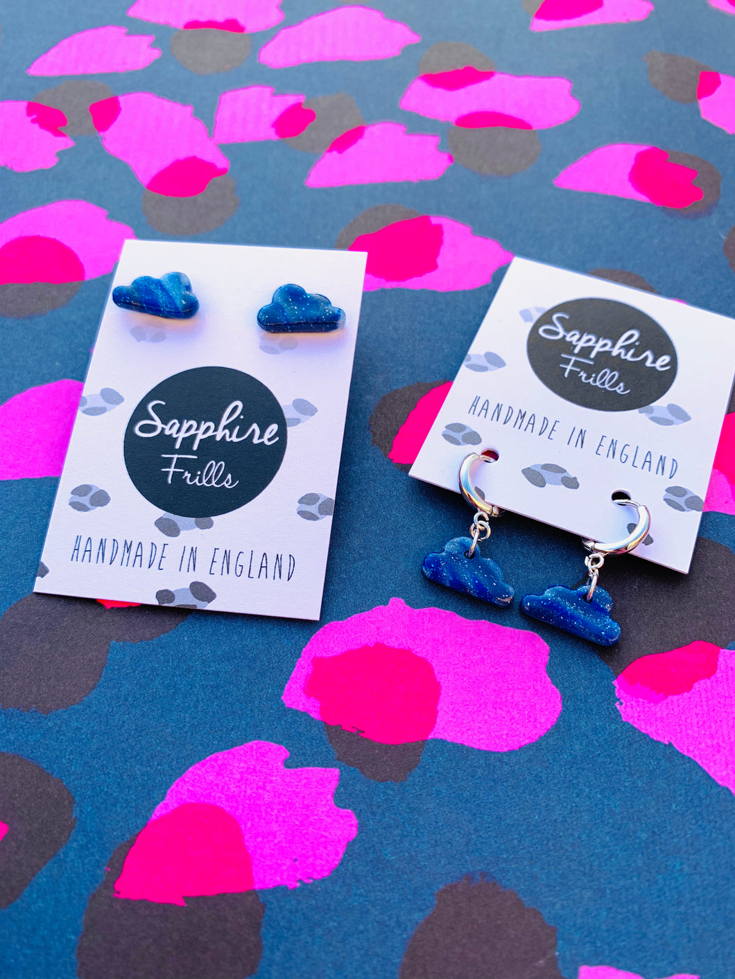 Small Blue and White Glitter Marble Cloud Stud Earrings