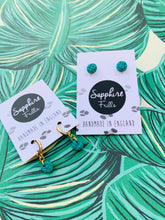 Load image into Gallery viewer, Mini Green Ditzy Leopard Print Circle Stud Earrings
