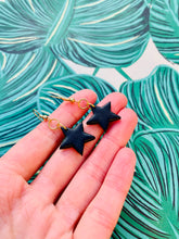 Load image into Gallery viewer, Medium Black Glitter Star Stud Earrings