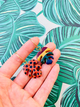 Load image into Gallery viewer, Medium Dark Rainbow Polka Dot and Stripe Mismatch Monstera Leaf Earrings